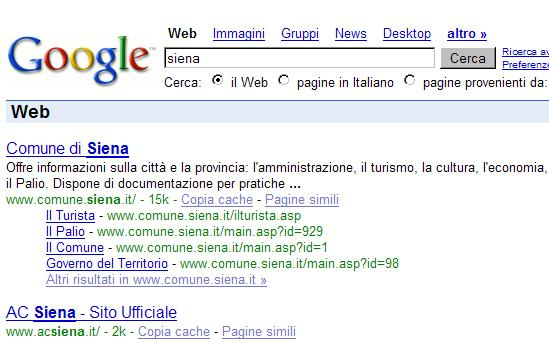 Query for siena on google.it
