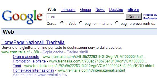 Results for the query trains in Italian on Google.it - it presents a onebox for trenitalia.com