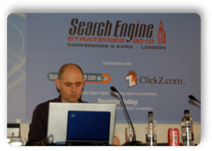 Sante Preparing before his presentation at Search Engine Strategies London, 2010