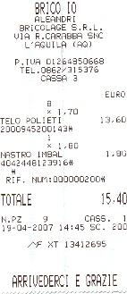 Scontrino del negozio di Bricolage BRICO IO dell'Aquila dove ho acquistato materiali per …