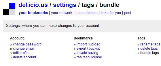 del.icio.us bundle settings