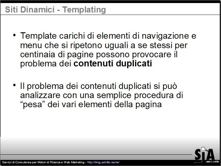Presentazione sul design amichevole per motori di ricerca: Il problema dei contenuti duplicati per via del template