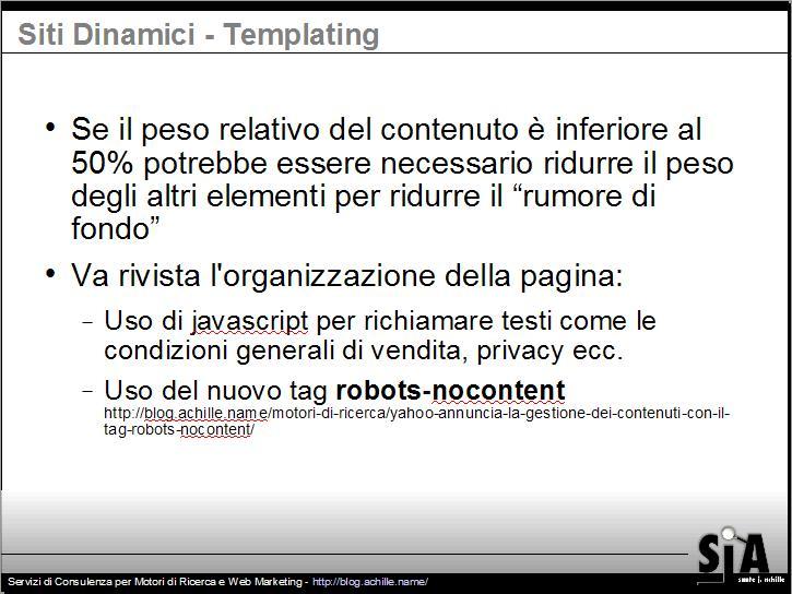 Presentazione sul design amichevole per motori di ricerca: Uso del nuovo tag robots-nocontent di YAHOO!