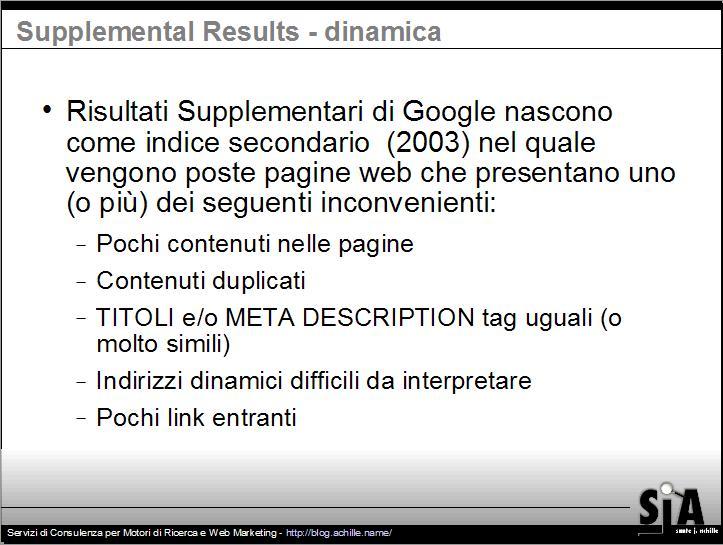 Presentazione sul design amichevole per motori di ricerca: Risultati Supplementari di Google