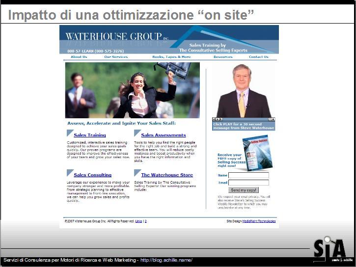 esempio di sito ben ottimizzato per i parametri on site - design amichevole per motori di ricerca. Search Engine Strategies Milano, 2007