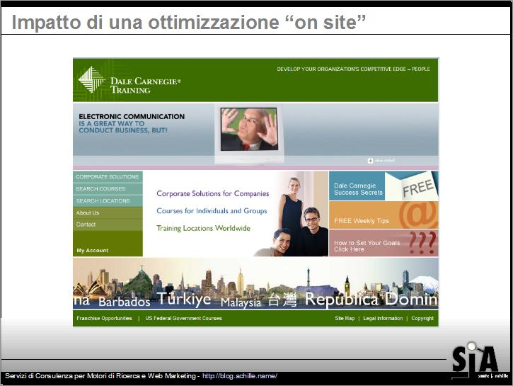 esempio di sito non ottimizzato per i parametri on site - design amichevole per motori di ricerca. Search Engine Strategies Milano, 2007