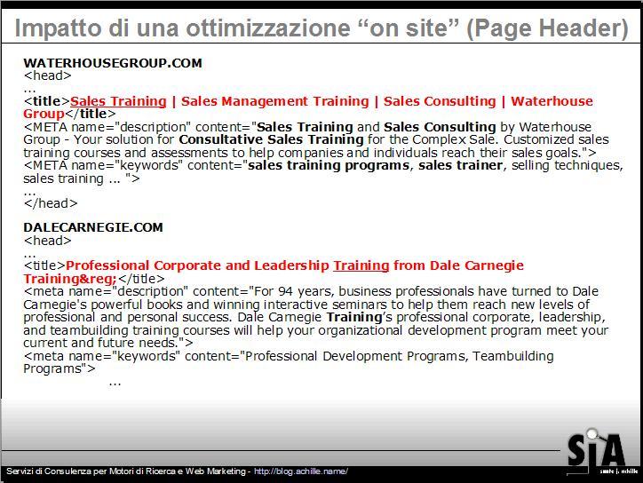confronto tra intestazioni di pagine web prima e nona posizione nel posizionamento organico dei motori di ricerca - un esempio pratico dell'uso di titoli e meta descrizioni