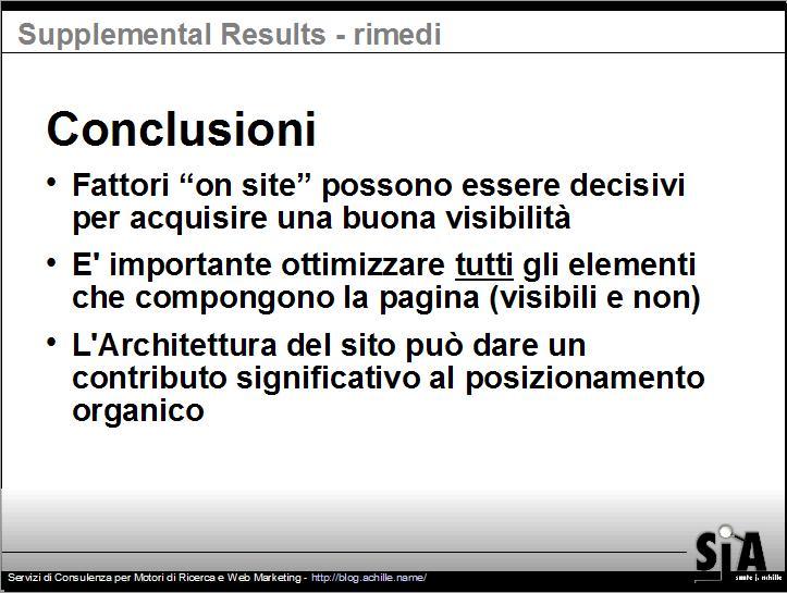 Conclusione della presentazione sul design amichevole per motori di ricerca