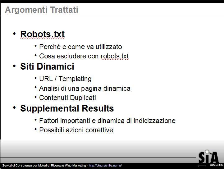 Presentazione sul design amichevole per motori di ricerca: Argomenti trattati dalla presentazione
