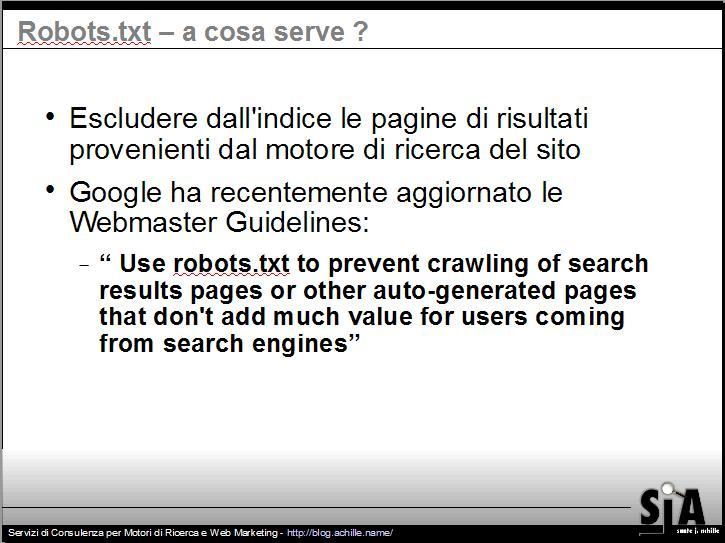 Presentazione sul design amichevole per motori di ricerca: Escludere dall'indice le pagine di risultati provenienti dal motore di ricerca del sito