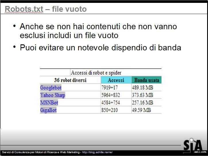 Presentazione sul design amichevole per motori di ricerca: implicazioni sul traffico generato da un sito che non utilizza il filel robots.txt