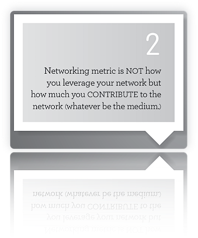 Tweet #2 from ThinkTweet by Rajesh Setty: Networking metric is NOT how you leverage your network but how much you CONTRIBUTE to the network (whatever be the medium.)