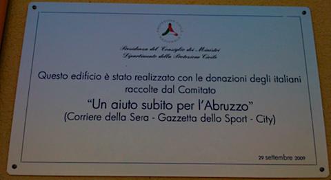 questo edificio è stato realizzato con le donazioni degli italiani raccolte dal comitato