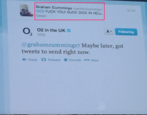 angry user abusing O2 during a 2 day outage of mobile service in the UK in 2012
