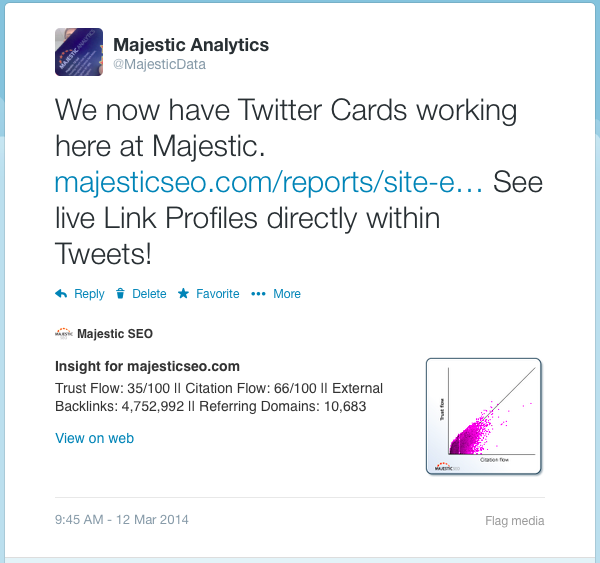 screenshot di una Twitter Card di Majestic SEO generata dal Search Explorer