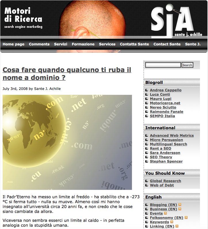 Il Blog di Sante J. Achille (screenshot 2007-2010)