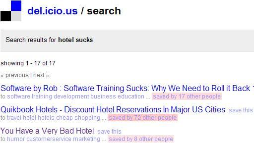 del.icio.us query for hotel sucks